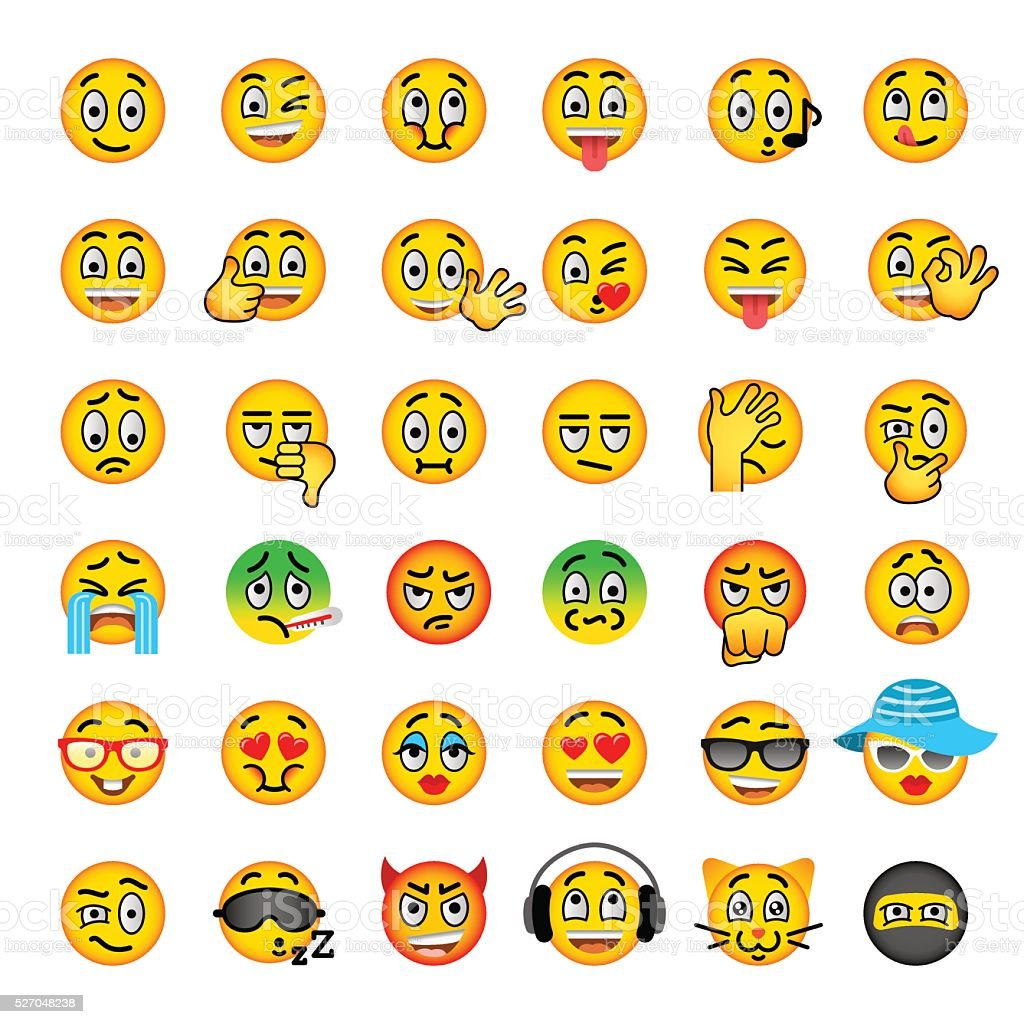 Smiley Face Emoji Flat Vector Icons Set Stock Vector Art ...