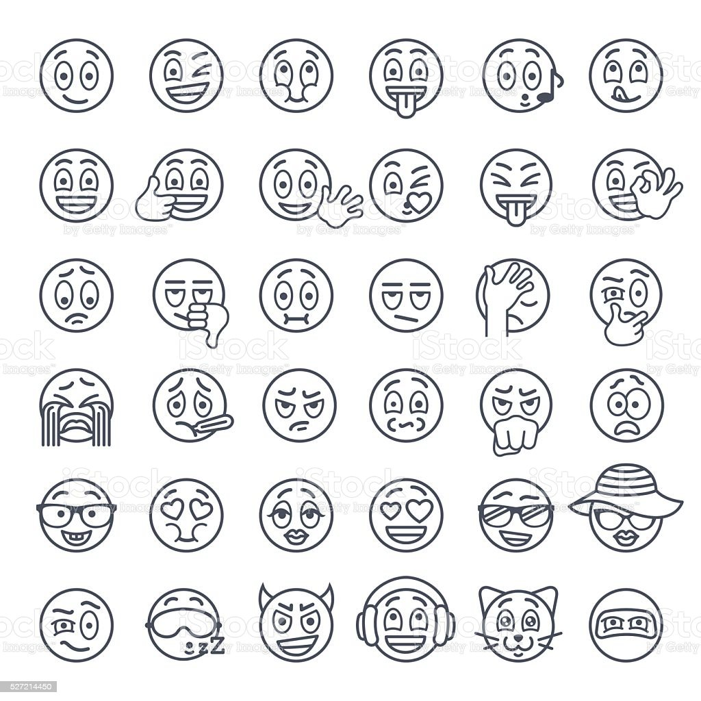 Smiley face emoji thin lines flat vector icons set vector art illustration