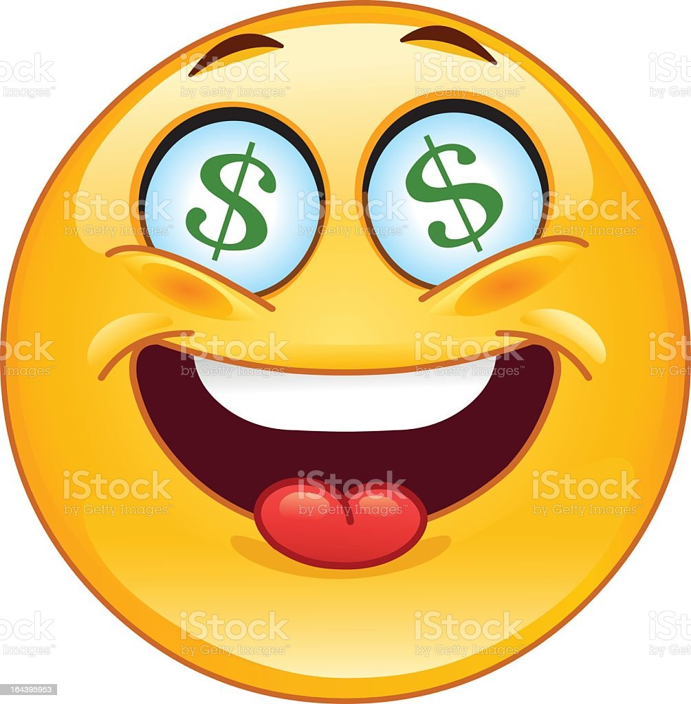smiley face emoji with tongue out and dollar signs for