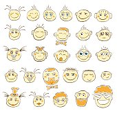 Smiley face hand drawn images. Sketch of emoji set. Cheerfull faces pack.