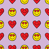 Vector illustration of smiley faces and hearts in a repeating pattern against a light purple background.