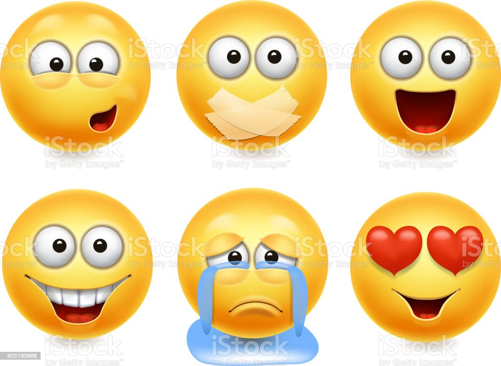 Ícones de rosto sorridente. Conjunto realista 3d de caretas. Coleção de expressões faciais amarelo bonito 2 - ilustração de arte em vetor