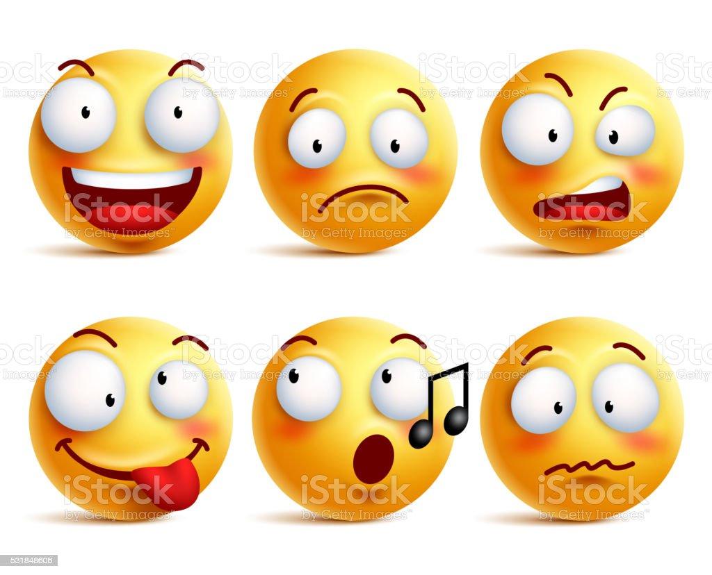 Cara sonriente iconos o emoticonos con Conjunto de expresiones faciales - ilustración de arte vectorial