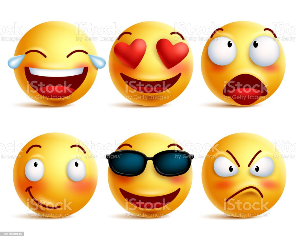 Smiley face icons or yellow emoticons with emotional funny faces royalty-free stock vector art