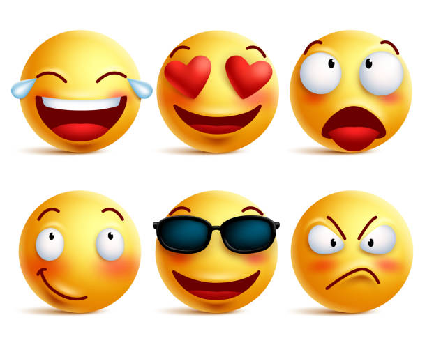 smiley face icons or yellow emoticons with emotional funny faces - angry emoji stock illustrations, clip art, cartoons, & icons