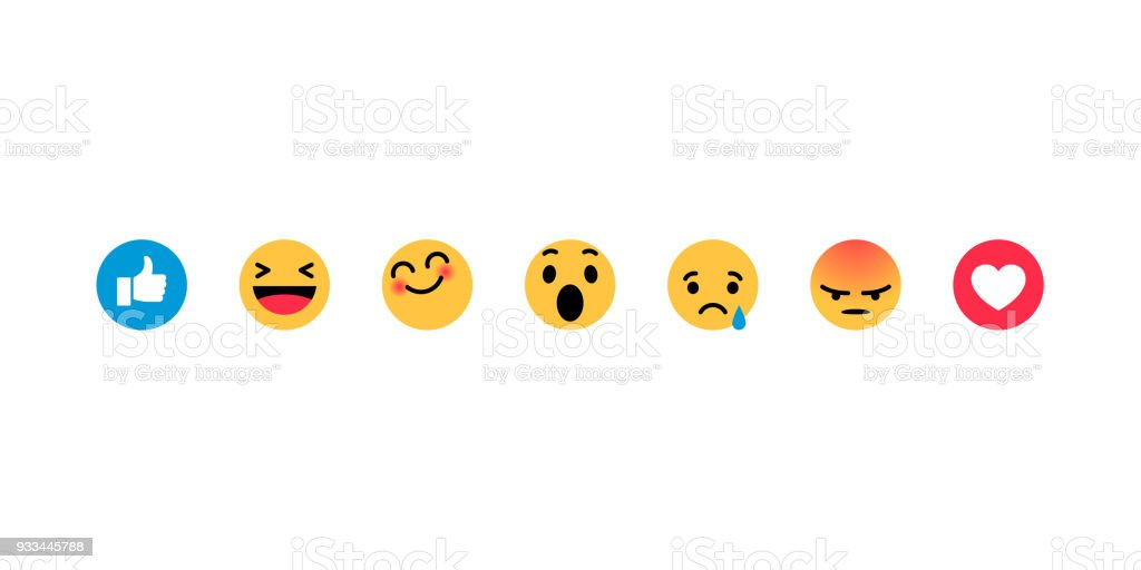 Smiley face, like, heart in isometry. Emotion Icons vector art illustration