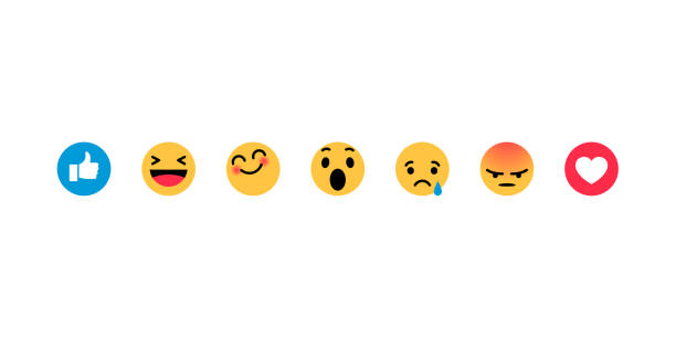 smiley face, like, heart in isometry. emotion icons - anger stock illustrations
