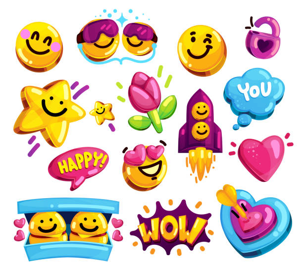 smiley face love and friends stickers vector set. - kiss stock illustrations