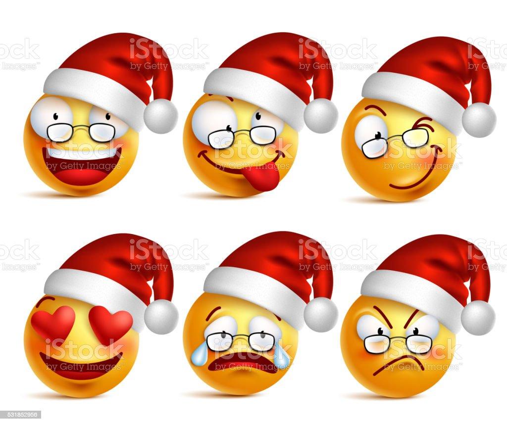 Emoticon Babbo Natale.Smiley Giallo Di Babbo Natale Con Natale Emoticon Cappello Immagini Vettoriali Stock E Altre Immagini Di Antropomorfo Istock