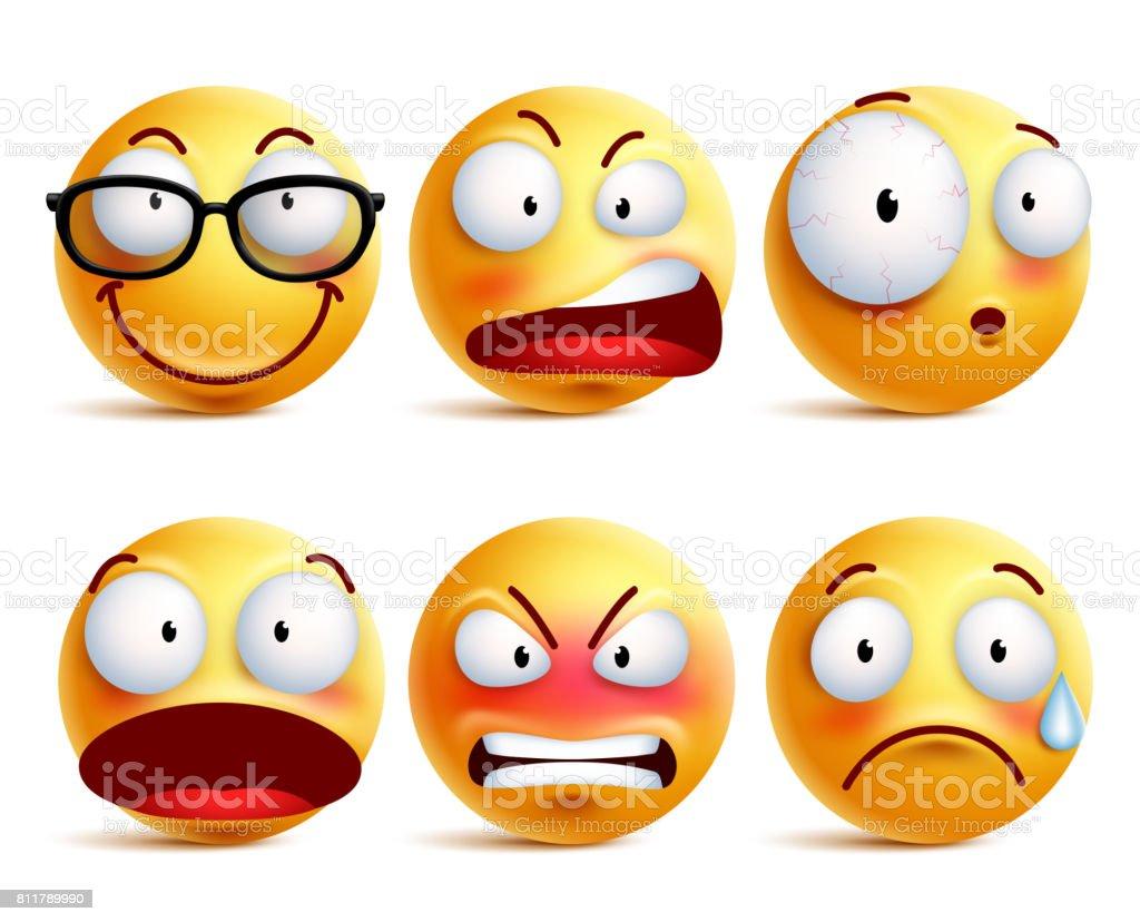 Smileys oder Emoticons Vektor-Set mit Mimik – Vektorgrafik