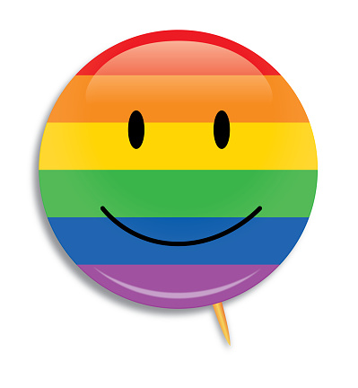 Smiley Face Rainbow Striped Campaign Button