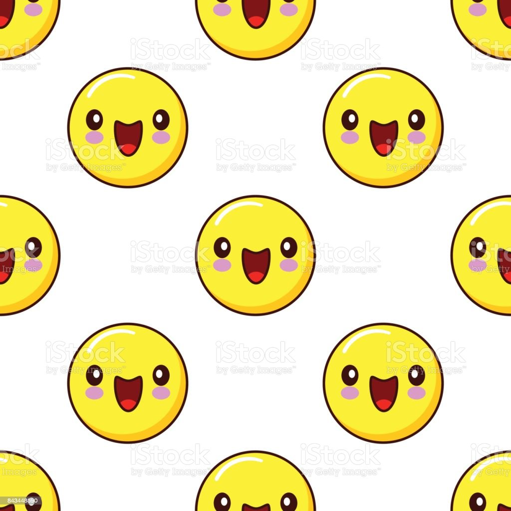 Smiley face seamless pattern pattern on white background emoticons smiley face seamless pattern pattern on white background emoticons emoji flat design vector royalty voltagebd Image collections