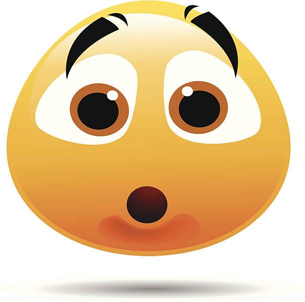 schockiert smiley - verwirrtes emoji stock-grafiken, -clipart, -cartoons und -symbole