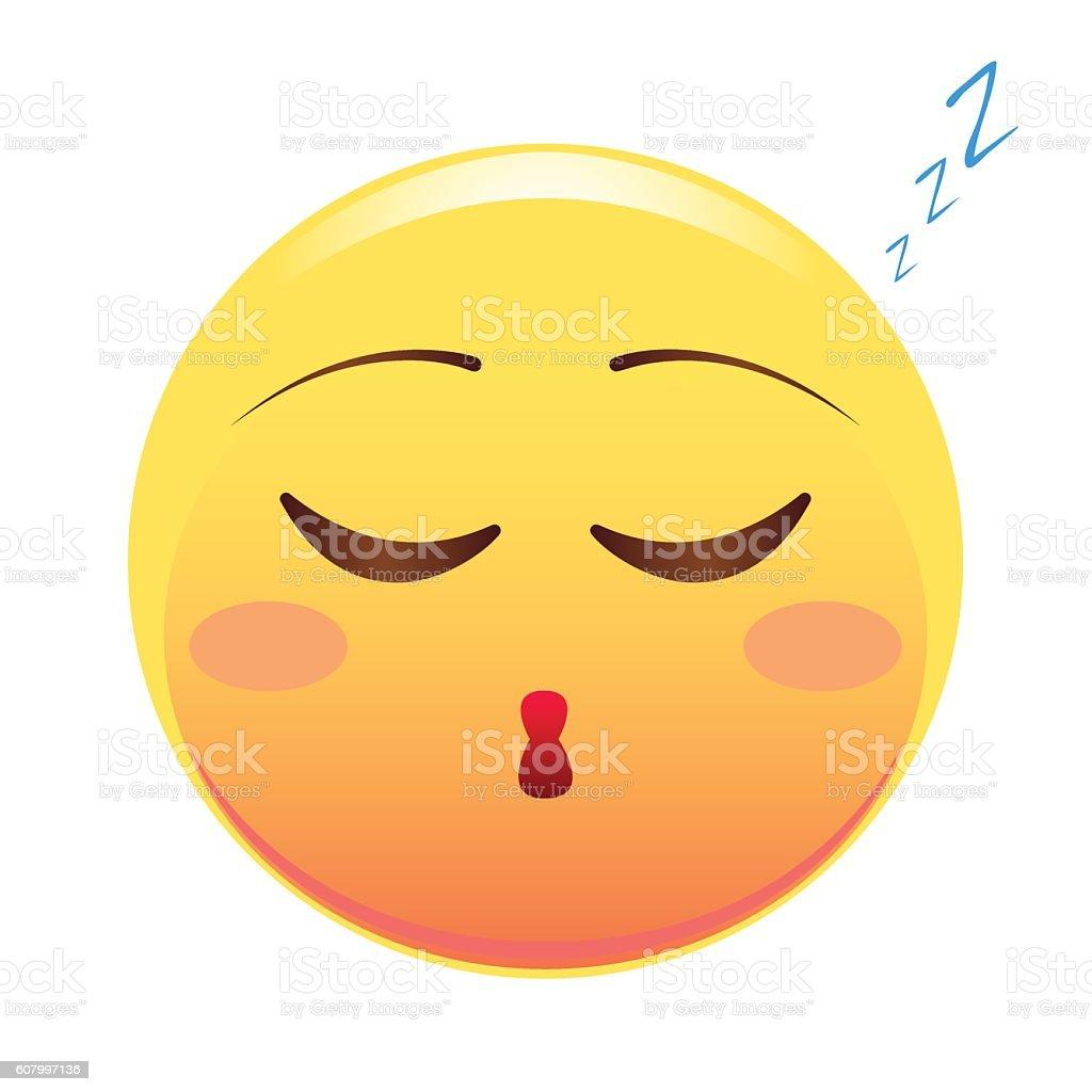 Smiley. Face sleeping. Vector illustration. Isolated on white background. vector art illustration