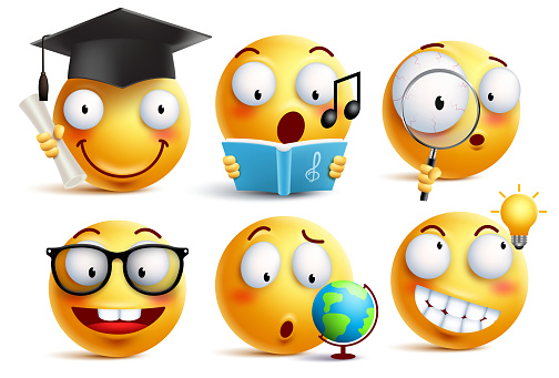 Smiley face student vector emoticons set with facial expressions and studying school activities