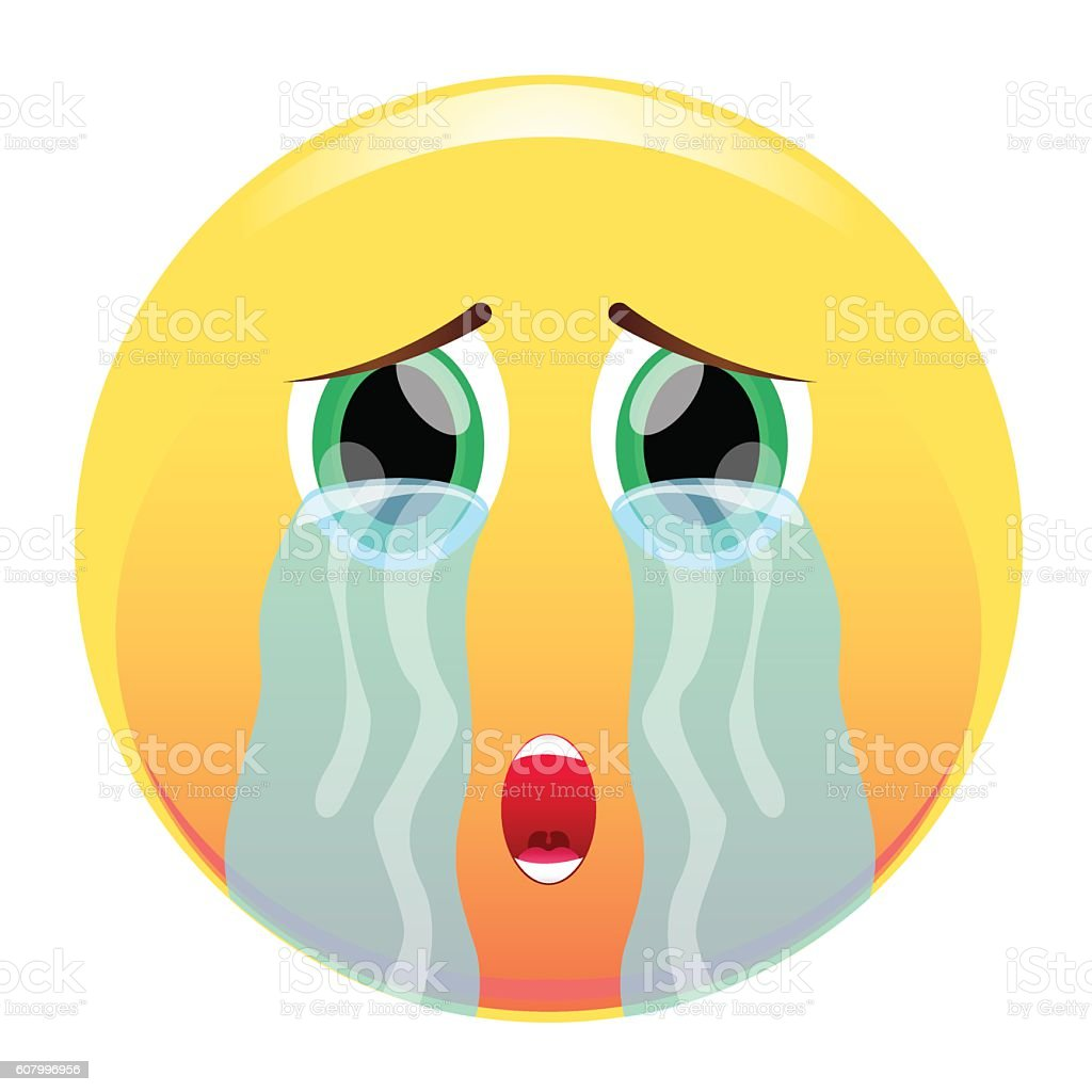 Smiley face tearstreaked with streams of tears sad emoticon stock smiley face tear streaked with streams of tears sad emoticon royalty buycottarizona Choice Image