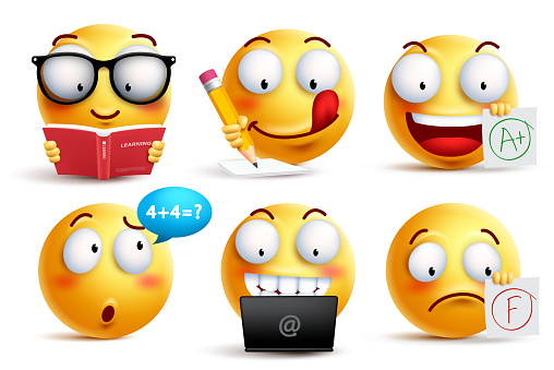 Smiley face vector set for back to school with facial expressions and student school activities