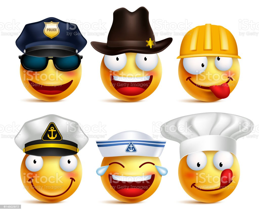 Smiley face vector set of professions with hats like police ilustración de  smiley face vector set ea7d4ccd672