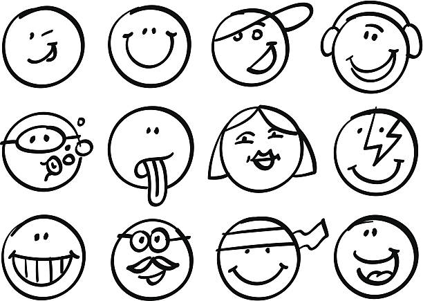 Smiley faces collection vector art illustration