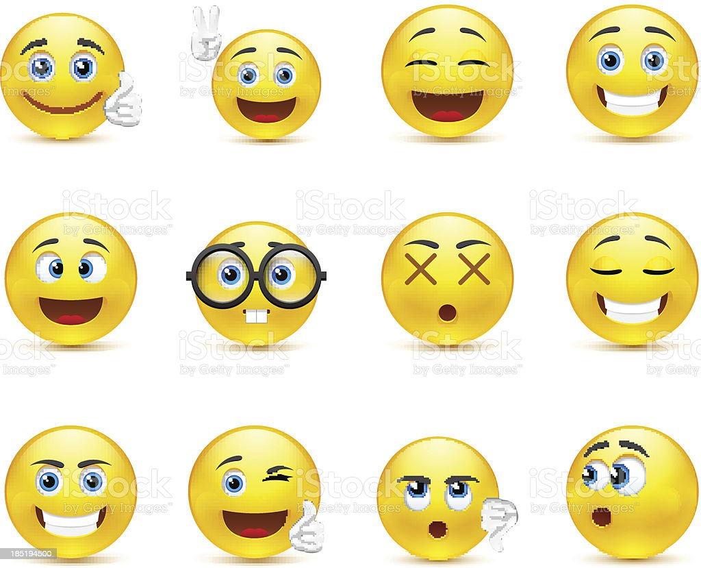 smiley faces images expressing different emotions vector art illustration