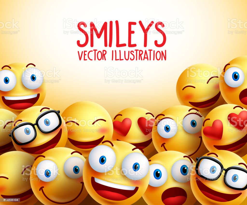 Smiley faces vector background with different facial expressions - ilustración de arte vectorial