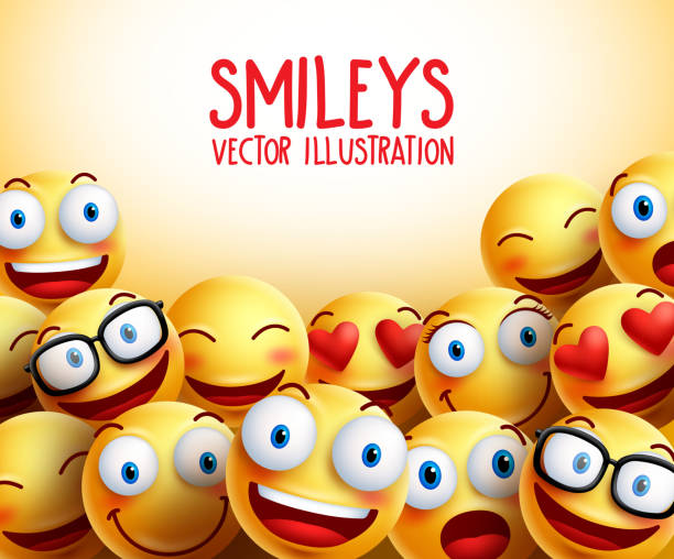 smiley faces vector background with different facial expressions - happy emoji stock illustrations, clip art, cartoons, & icons