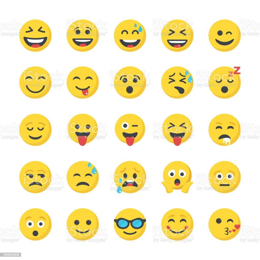 Coleção de ícones plana sorridente - ilustração de arte em vetor