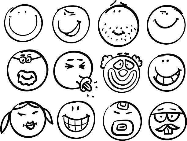 Smiley head collection vector art illustration