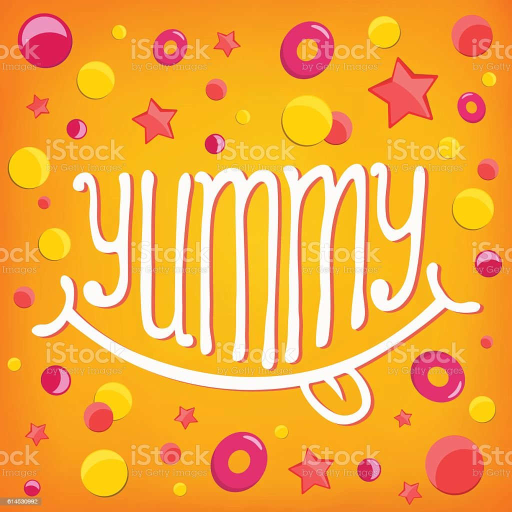 Smiley icon. Yummy log lettering concept vector art illustration