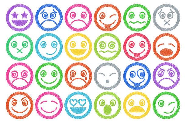 ilustraciones, imágenes clip art, dibujos animados e iconos de stock de smiley iconos de sombras efecto de lápiz de color - emoji celoso