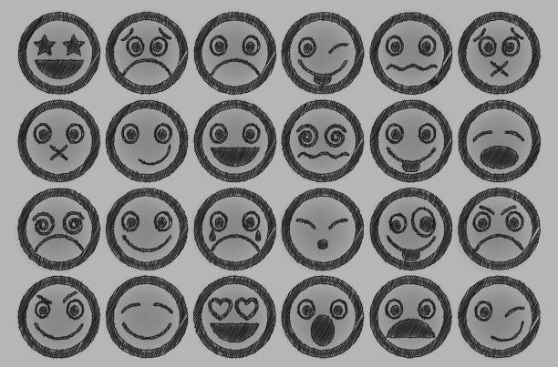 smiley icons pen shading effect set - jealous emoji stock illustrations, clip art, cartoons, & icons