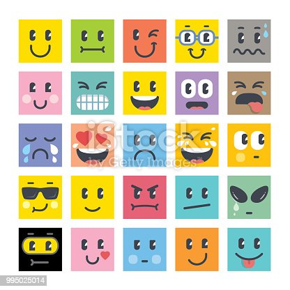 Smiley icons square shape collection 2018