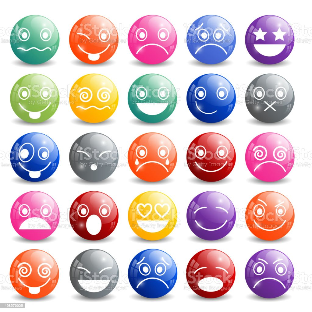 Smiley-Icons Set aus glänzendem Ball – Vektorgrafik