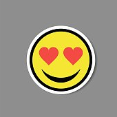 Smiley love heart eyes sticker. Vector illustration