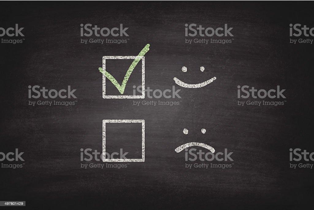 Smiley or Sad Checkboxes on Blackboard - Chalkboard vector art illustration