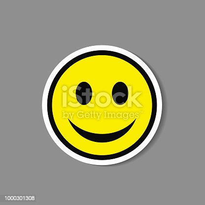 Smiley paper sticker. Vector happy face emoticon badge or label.