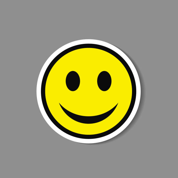 stockillustraties, clipart, cartoons en iconen met smiley papieren sticker. vector blij gezicht emoticon label. - smile