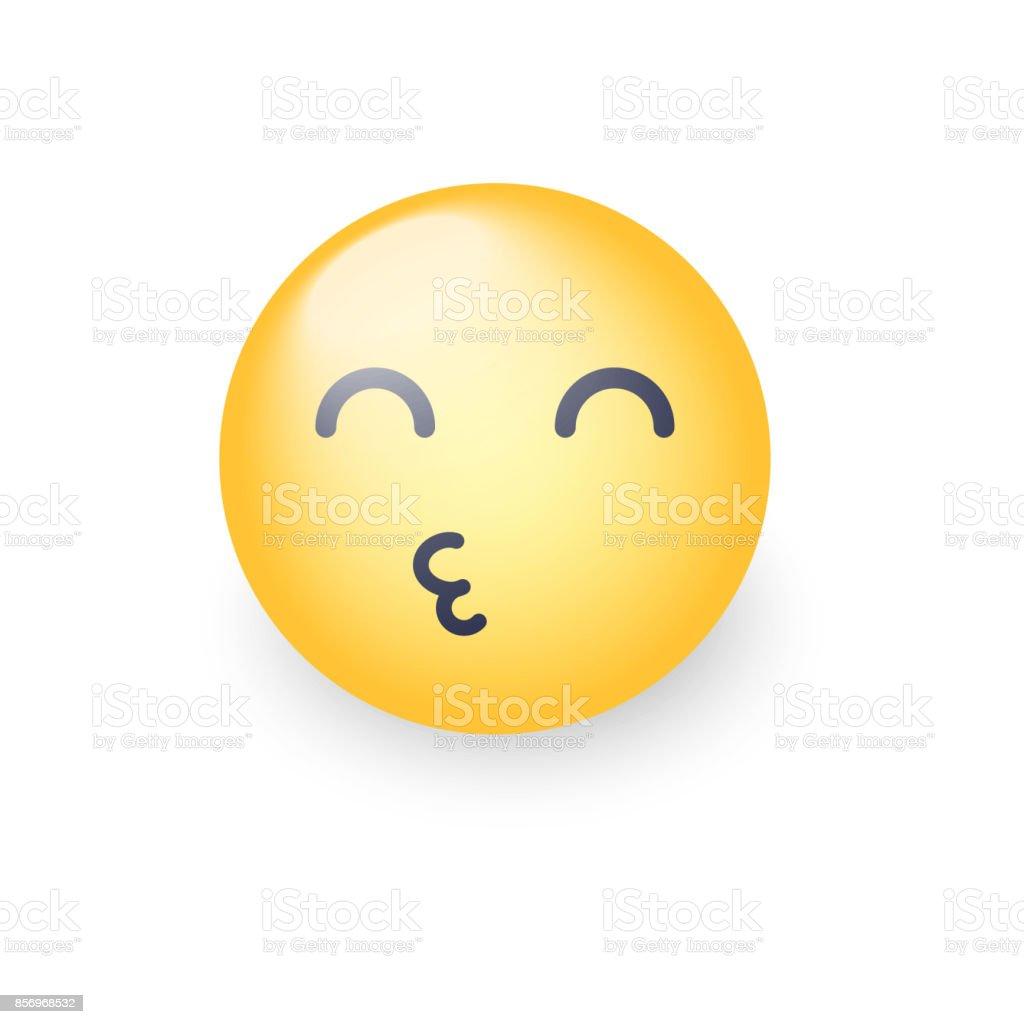 Smiley Envoi Un Air Baise Avec Les Yeux Fermes Visage Emoticone Jeter Un Baiser Heureux Emoji Aimante Pour Des Applications Et Des Tchats Vecteurs Libres De Droits Et Plus D Images Vectorielles De
