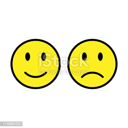 Happy And Unhappy Smileys Emoji Illustration