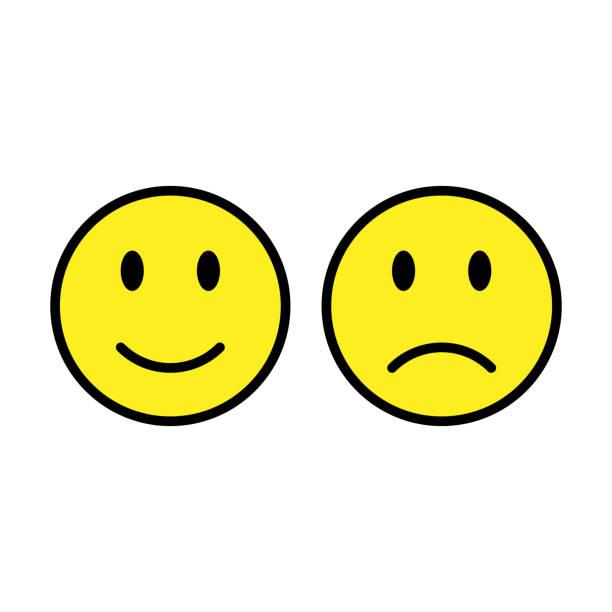 ilustrações de stock, clip art, desenhos animados e ícones de smiley set emoticons isolated on white background. - unfortunate