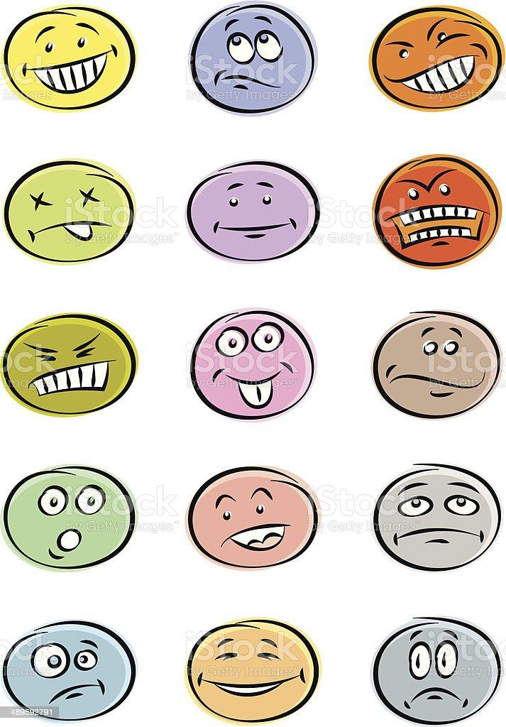 Smiley set vector art illustration