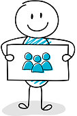 Smiley stickman holding board with team (group of people) icon. Vector.