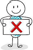 Smiley stickman holding board with x-mark (checkbox) icon. Vector.