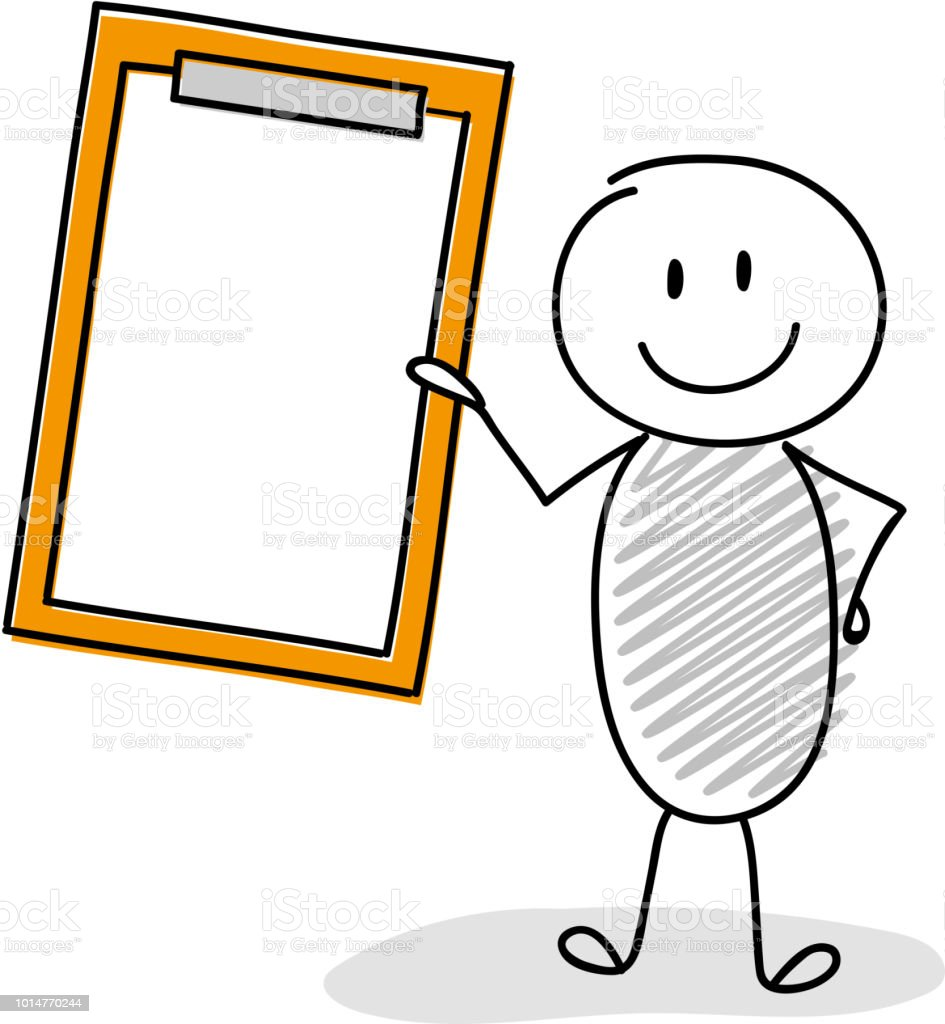 Smiley stickman holding empty clipboard. Vector. vector art illustration