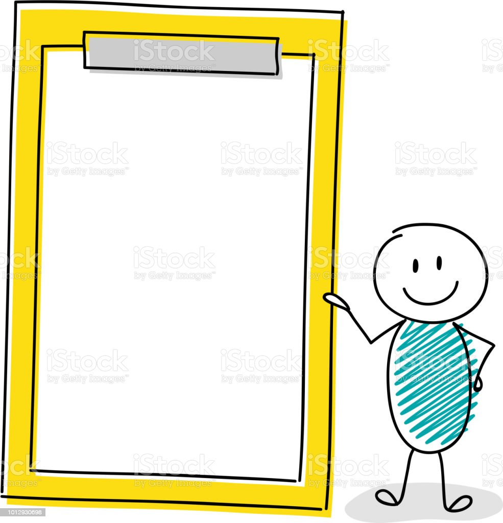 Smiley stickman with hand drawn clipboard. Vector. vector art illustration