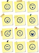 12 different smiley sticky notes. Illustrator vector image.