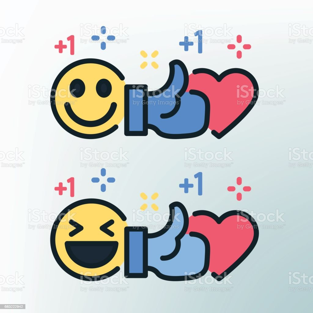 Smiley, thumb up and heart. Vector colored lines icons. Template for the holiday, sales and discounts. vector art illustration