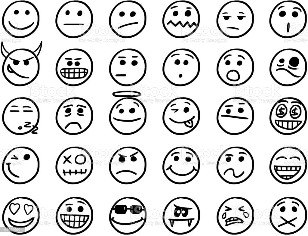 Smiley Vector Hand Drawings Icon Set01 in Black and White vector art illustration