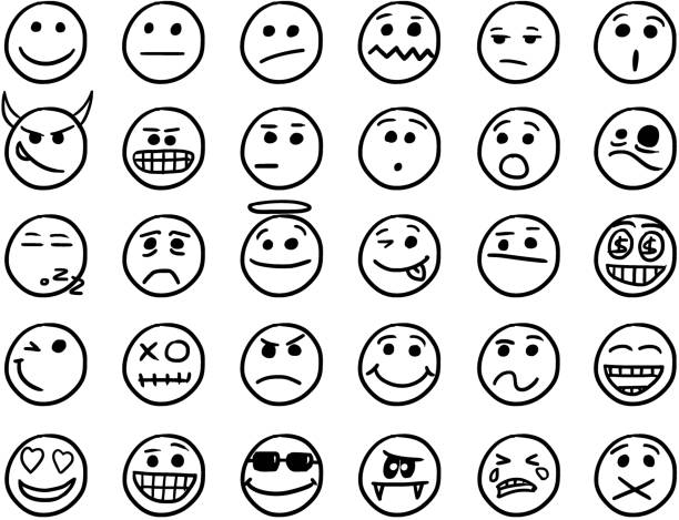 illustrazioni stock, clip art, cartoni animati e icone di tendenza di smiley vector hand drawings icon set01 in black and white - noia
