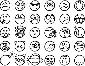 Set02 of smiley icons drawings doodles in black and white